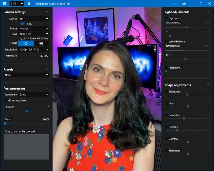 Camo Studio on Windows in Dark Mode