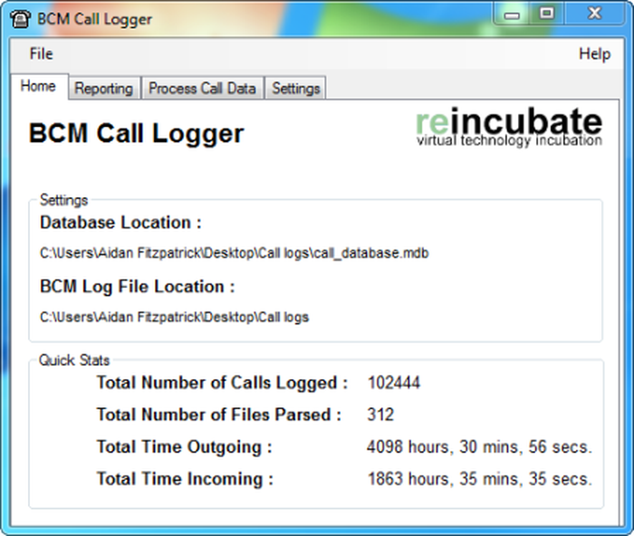 Janela principal do BCM Call Logger