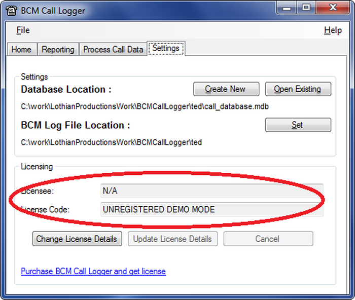 BCM Call Logger's licensing screen