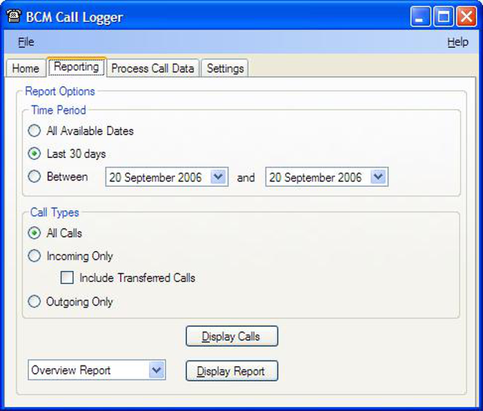 BCM Call Logger: Options window
