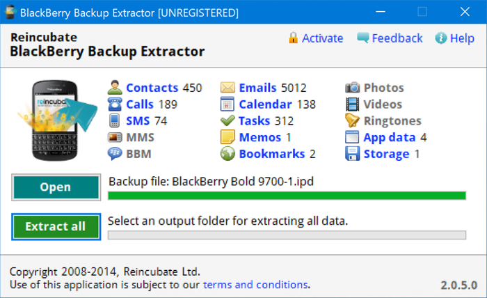 BlackBerry Backup Extractor's overview