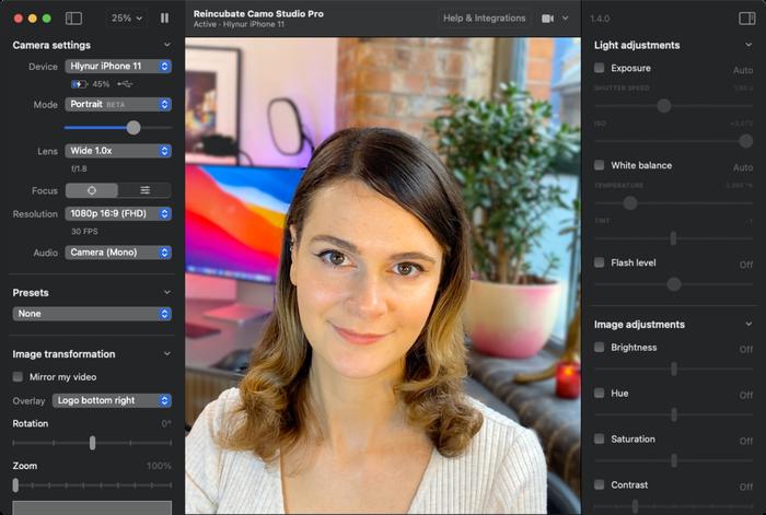 Camo Studio on macOS in Dark Mode