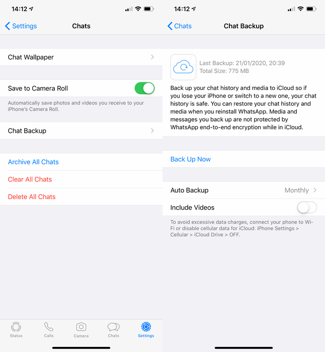 Viewing backups in WhatsApp