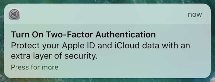 iOS 10.3's 2FA activation notification
