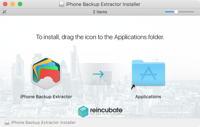 Faites glisser iPhone Backup Extractor dans votre dossier Applications