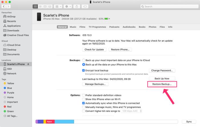 Restoring a backup with Finder
